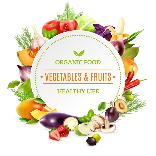 Natural organic food background Free Vector