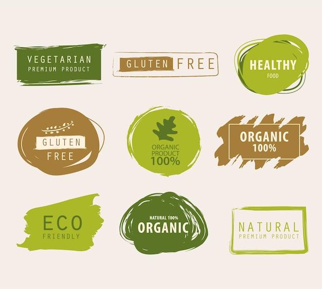 Natural and organic green banner Premium Vector
