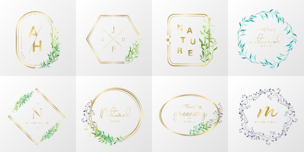 Natural and organic logo collection for branding, corporate identity. gold frame with floral in watercolor style Free Vector