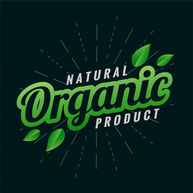 Natural organic product label design with leaves Free Vector