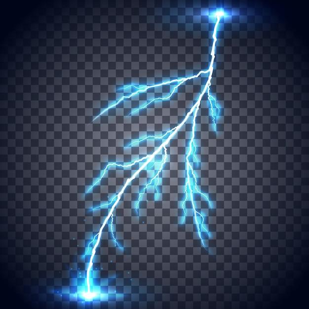 Natural phenomena, thunder, storm and thunderstorm. bright light effects. Premium Vector