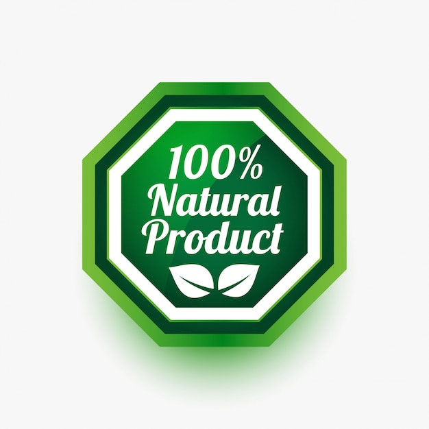 Natural product green label or sticker Free Vector