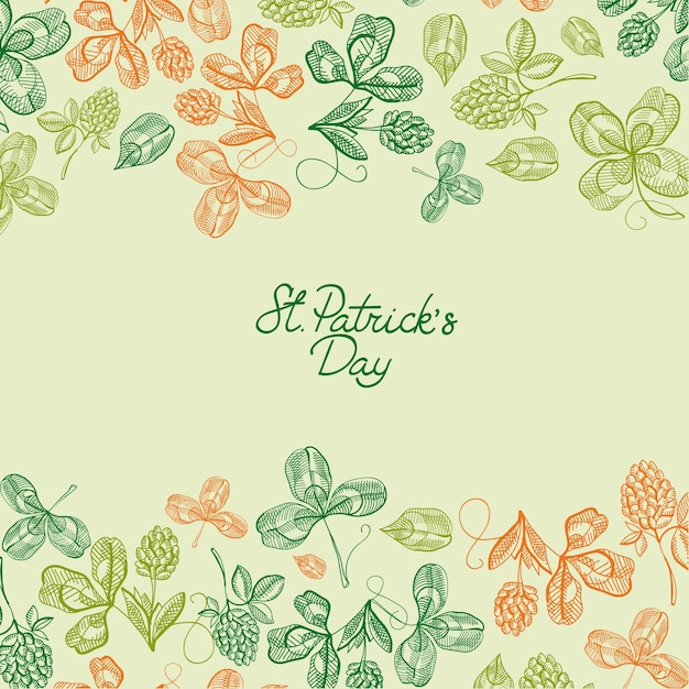 Natural saint patricks day greeting poster with inscription and sketch shamrock and four leaf clover vector illustration Free Vector