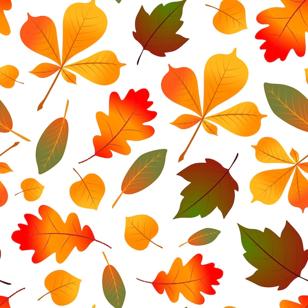 Natural seamless pattern with autumn fallen leaves. Premium Vector