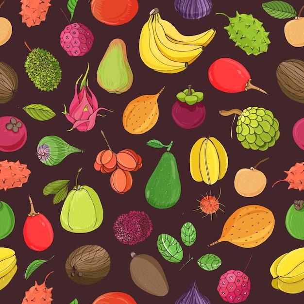Природные бесшовные модели с целым вкусные свежие спелые сочные экзотические тропические фрукты на темном фоне. ручной обращается реалистичные иллюстрации для текстильной печати, упаковочная бумага, фон, обои. Premium векторы