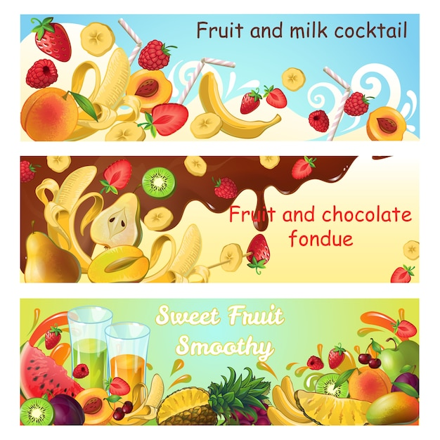 Natural sweet products horizontal banners with fresh organic fruits milk and chocolate splashes and flows Free Vector
