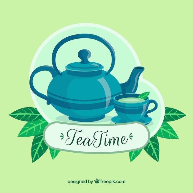 Natural tea leave background with flat design Free Vector