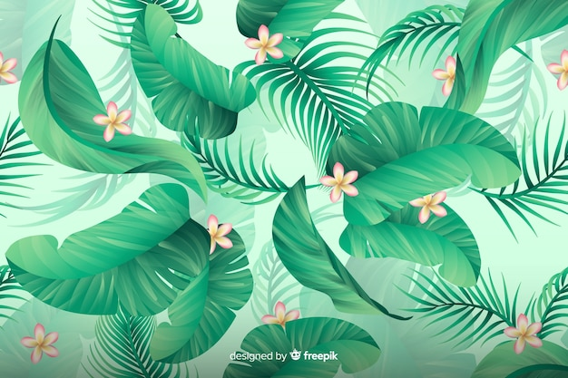 Natural tropical background with leaves Free Vector
