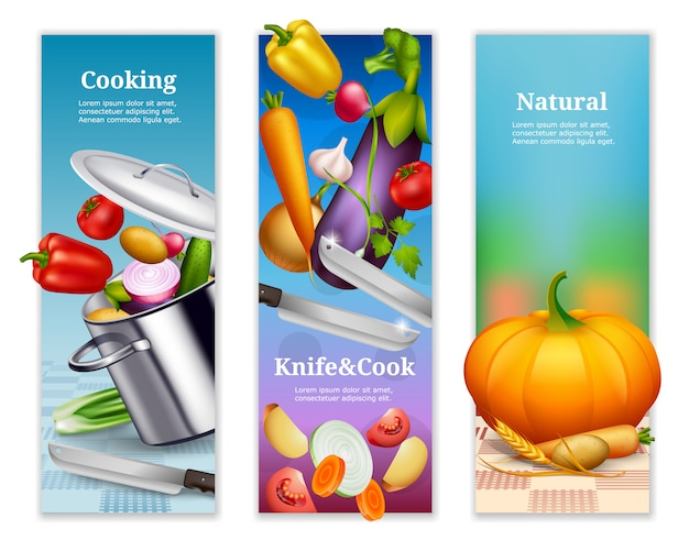 Natural vegetables vertical banners Free Vector