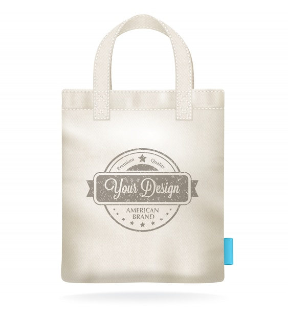 Natural white canvas mock up shopping bag template Free Vector