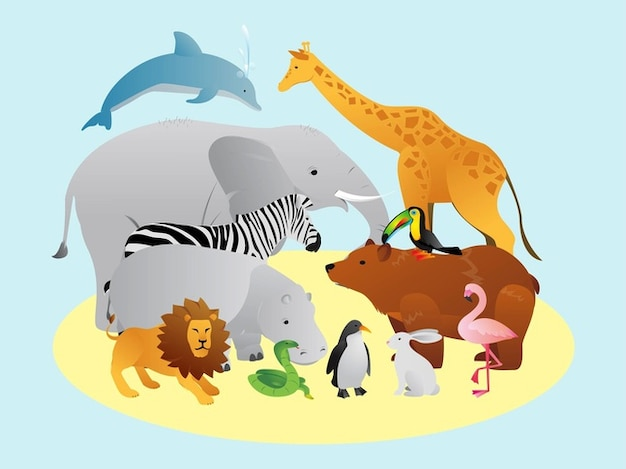 Natural Wild animals vector pack