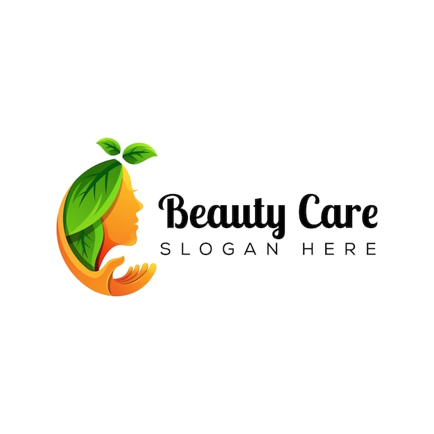 Natural woman beauty care with hand logo Premium Vector
