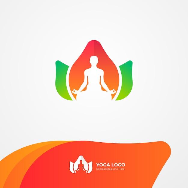 Natural yoga health logo Premium Vector