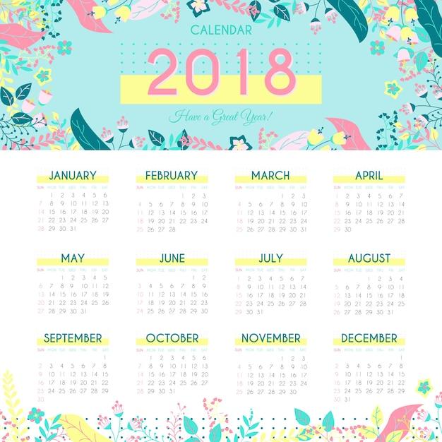 Nature 2018 calendar template