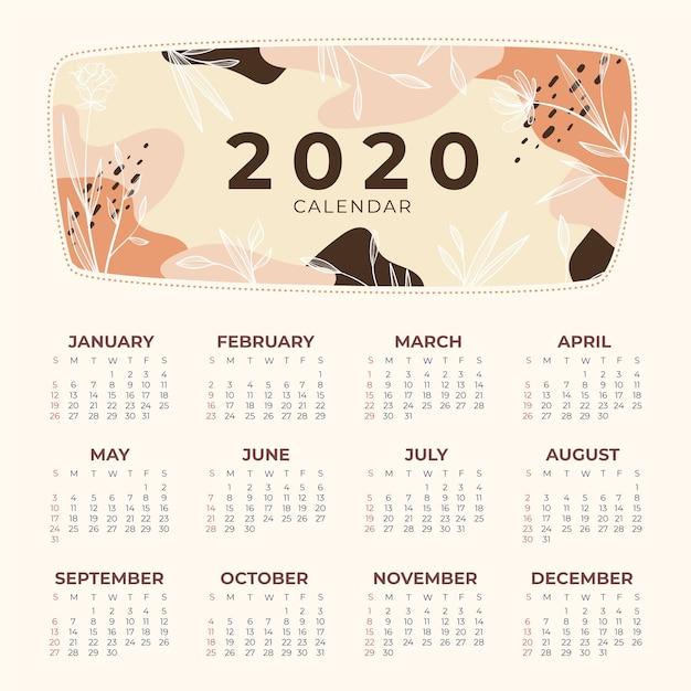 Шаблон календаря природа 2020 Бесплатные векторы
