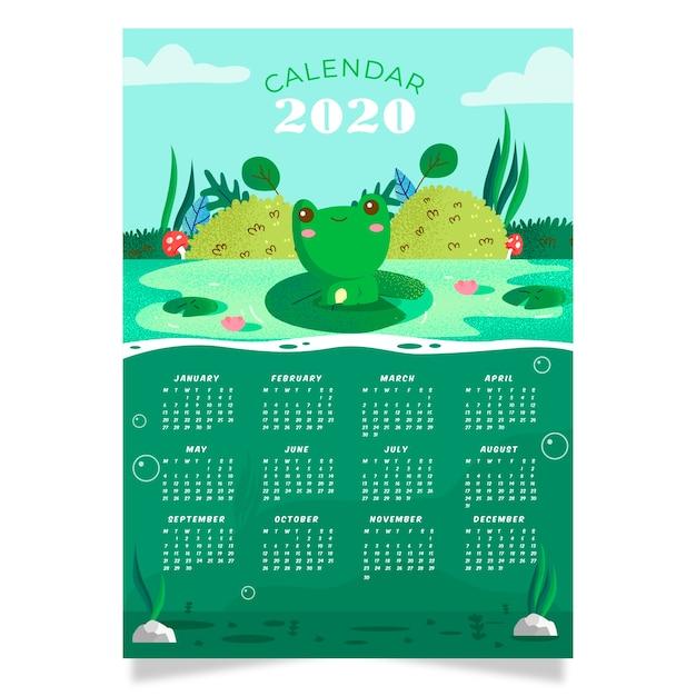 Nature 2020カレンダーテンプレート 無料ベクター