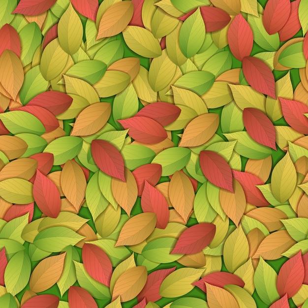自然抽象的なカラフルなシームレスなパターンと紅葉 無料ベクター
