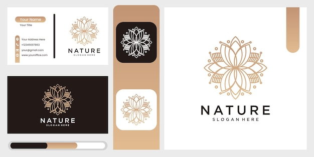 라인 아트 스타일과 명함 자연 추상 럭셔리 로고 꽃 로고 원 추상 디자인 서식 파일입니다. 로터스 스파 프리미엄 벡터