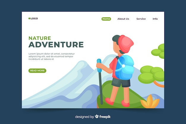 Nature adventure landing page Free Vector