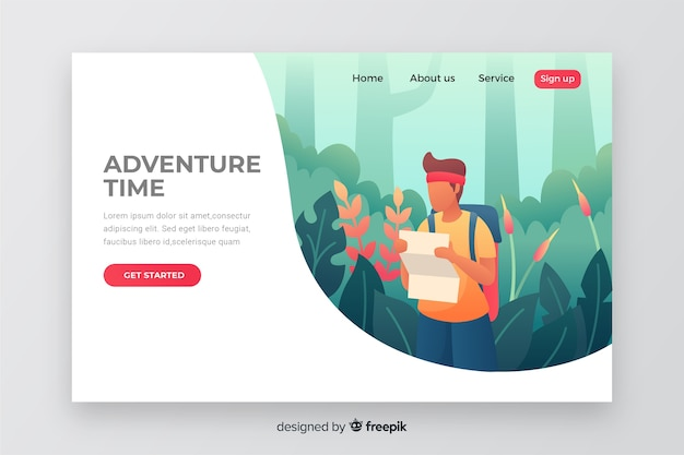 Nature adventure time landing page Free Vector