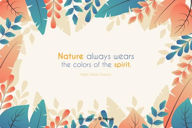 La natura indossa sempre i colori dello spirito. citazione scritta con tema floreale e fiori Vettore gratuito