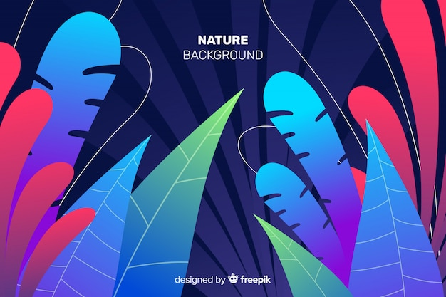 Nature background with colorful leaves Free Vector