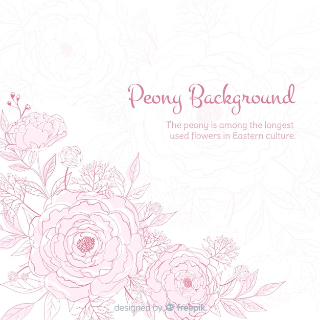 Nature background with cute peony flowers Free Vector