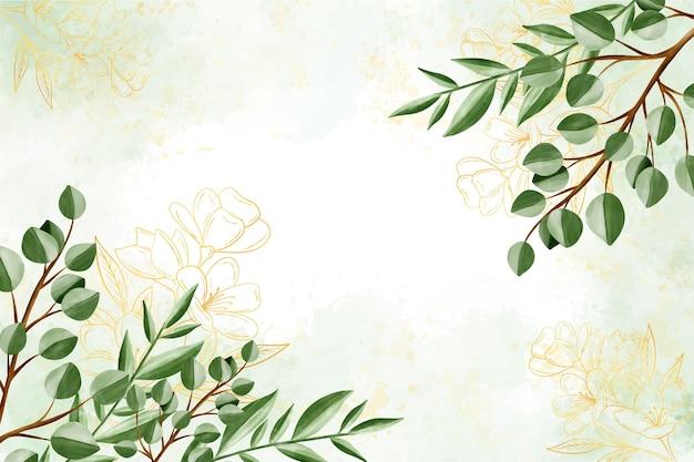 Sfondo della natura con foglia d'oro Vettore gratuito