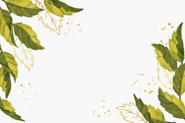 黄金の箔と自然の背景 無料ベクター