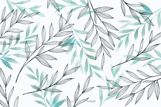 Nature background with gray and blue leaves Free Vector