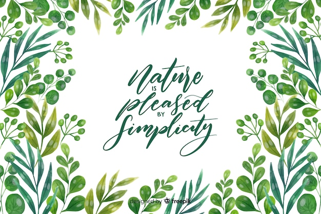 Nature background with lettering quote Premium Vector