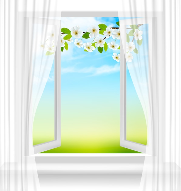 Nature background with open window and spring blossom of cherry. Premium Vector