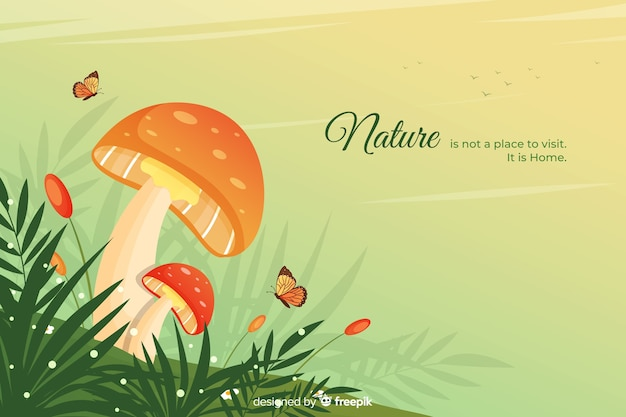 Nature background with quote flat design Free Vector