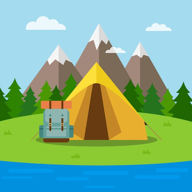 Nature background with tent Premium Vector