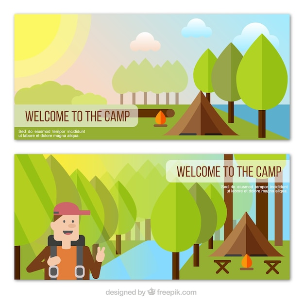 Nature banners with camping tent and hiker in\ flat design