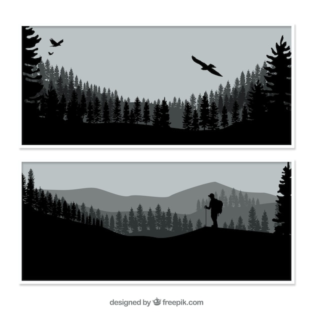 Nature banners with silhouettes Free Vector