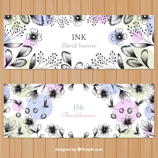 Nature banners with sketches flowers