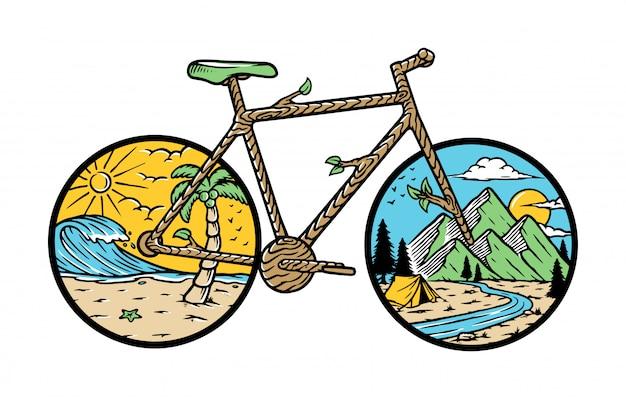 Иллюстрация велосипеда природы Premium векторы