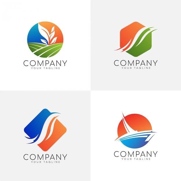 Nature colorful logo set Premium Vector