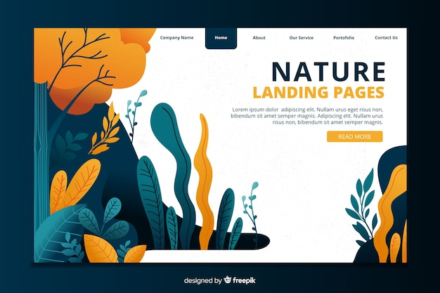 Nature concept landing page template Free Vector