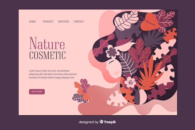 Nature cosmetic landing page template Free Vector