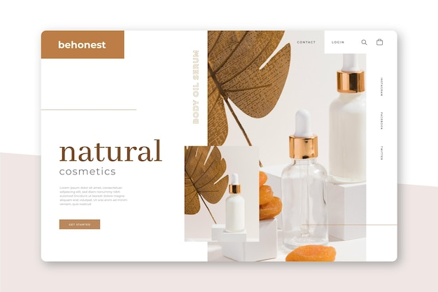Nature cosmetics landing page template Free Vector
