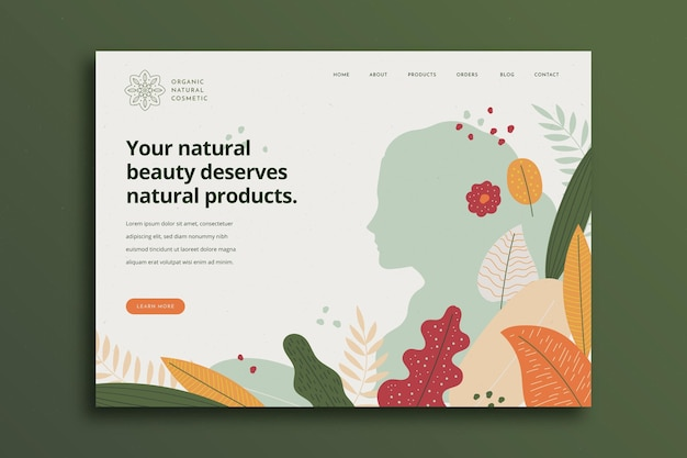 Nature cosmetics landing page Free Vector