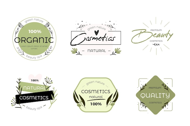 Nature cosmetics logo collection design Premium Vector