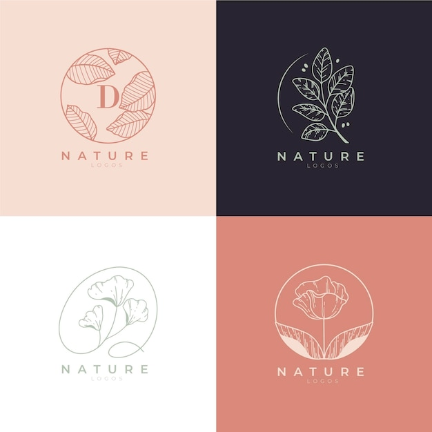 Nature cosmetics logo collection Free Vector