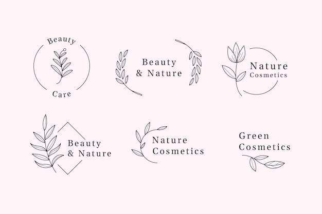 Коллекция логотипов натуральной косметики Premium векторы