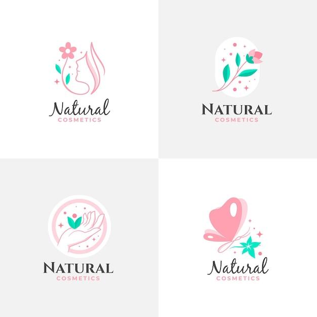 Collezione di logo di cosmetici naturali Vettore gratuito