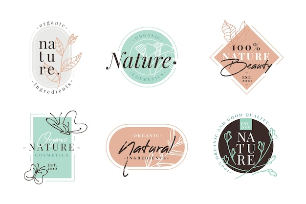 Nature cosmetics logo pack Free Vector