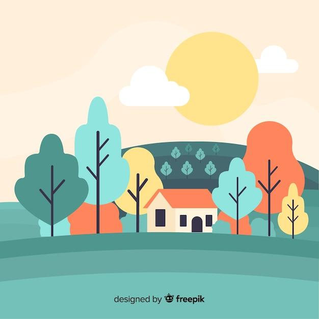 Nature decorative landscape flat design Free Vector