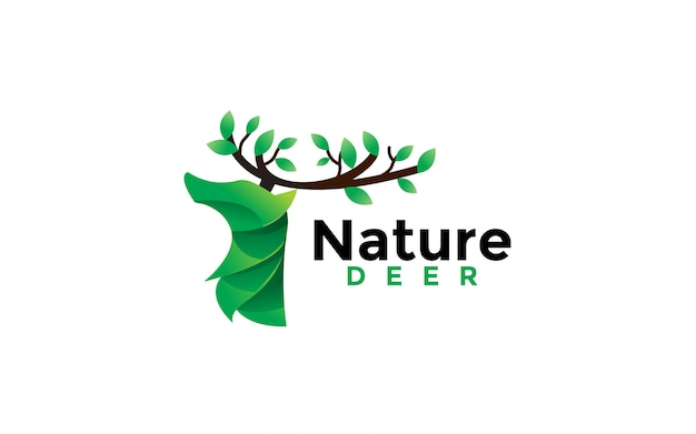 Nature deer logo design icon illustration Premium Vector